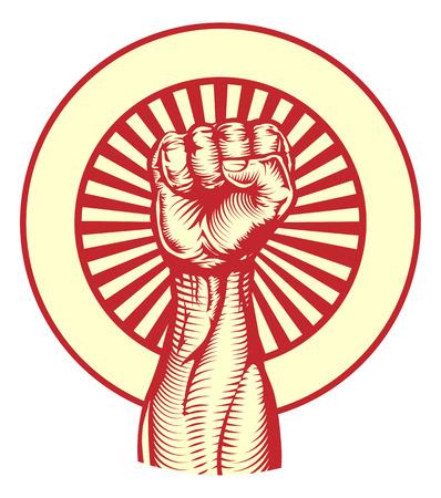 Soviet cold war propaganda poster style revolution fist raised in the air