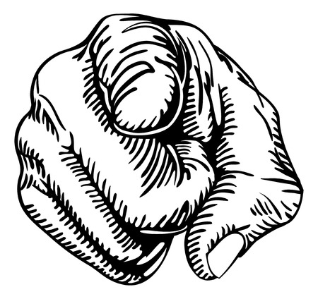 Illustration pour a black and white illustration of a human hand with the finger pointing or gesturing towards you.  - image libre de droit