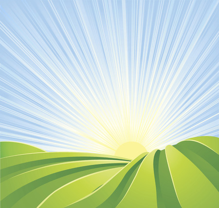 Illustration pour Illustration of idyllic green fields with sunshine rays and blue sky. A perfect landscape scene. - image libre de droit