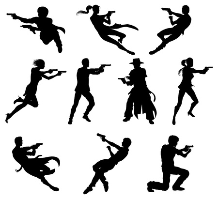 Silhouettes of movie action sequence shootout men and women in dynamic poses