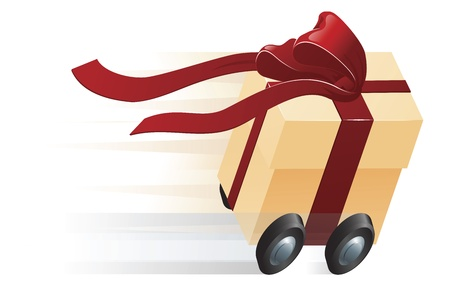 Illustration pour A very fast gift zooming along on wheels. Concept for shipping, fast delivery or gift wrapping. - image libre de droit