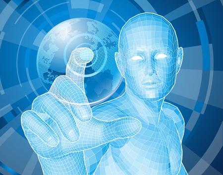 Illustration pour Corporate style background concept. Futuristic blue figure selecting a floating world globe. - image libre de droit