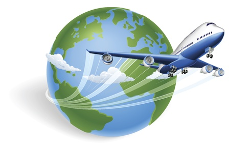 Illustration for Airplane circling the globe and flying out - Royalty Free Image