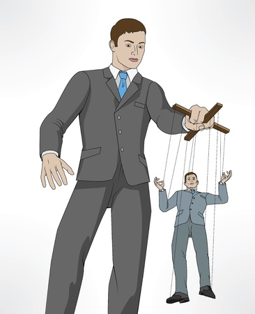 Illustrazione per Conceptual illustration. Business man controlling other business man like a puppet on a string. - Immagini Royalty Free