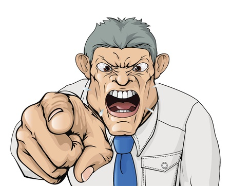 Illustration pour Illustration of a bullying boss shouting and pointing. - image libre de droit