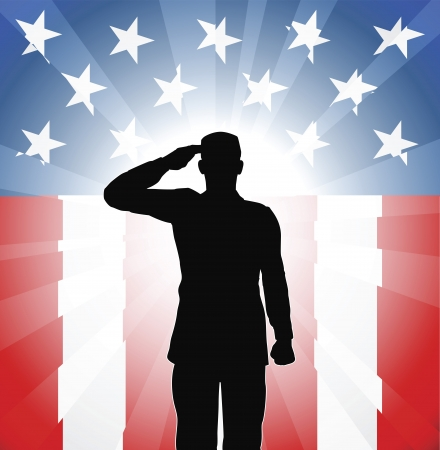 Foto per A patriotic soldier saluting in front of an American background - Immagine Royalty Free
