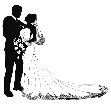 Illustration pour A bride and groom on their wedding day about to kiss in silhouette - image libre de droit