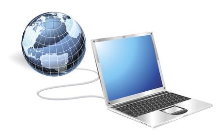 Illustration pour Internet concept illustration. Laptop connected to a globe. - image libre de droit