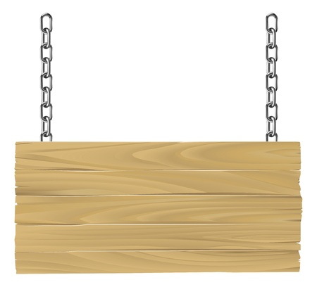 Illustration pour Illustration of an old wooden sign suspended on chains - image libre de droit