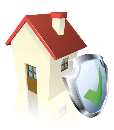 House with shield and green tick indicating it is insured, safe, or guaranteed