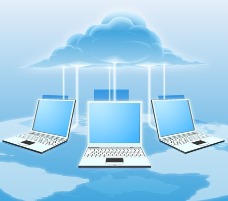 Illustration pour A conceptual cloud computing illustration. Laptops connected to the cloud with a world map in the background. - image libre de droit