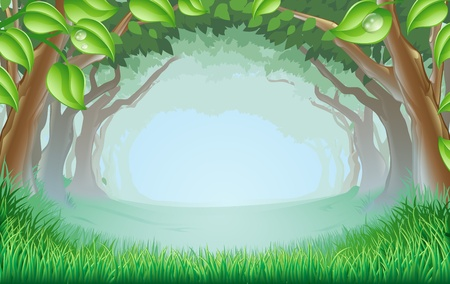 Illustration pour A beautiful woodland scene with trees and grass and space in the centre - image libre de droit