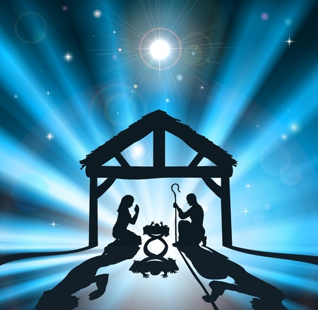 Illustration pour Christian Christmas nativity scene of baby Jesus in the manger with the virgin Mary and Joseph - image libre de droit
