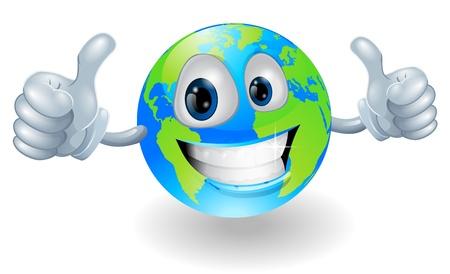 Ilustración de Illustration of a smiling happy globe world character giving a double thumbs up - Imagen libre de derechos