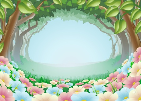 Foto de A beautiful fantasy woodland forest scene illustration - Imagen libre de derechos