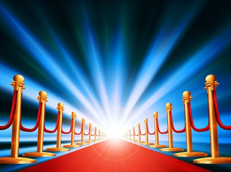 Illustration pour A red carpet leading to somewhere exciting with bright light and abstract background - image libre de droit