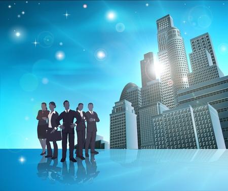 Illustration pour Business team of in front of modern city background. - image libre de droit