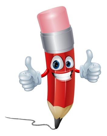 Illustration pour Funny pencil mascot man giving a double thumbs up - image libre de droit