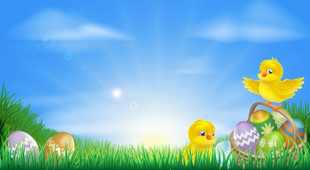 Illustration for Background illustration of happy yellow Easter chicks and Easter eggs in a field - Royalty Free Image