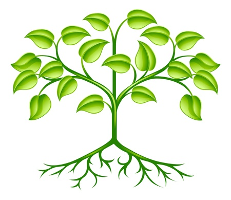 Illustration for A green stylised tree design element symbolising growth, nature or the environment - Royalty Free Image