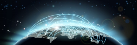 Illustration pour A world map network background with flight paths or trade routes or communication between countries and cities - image libre de droit