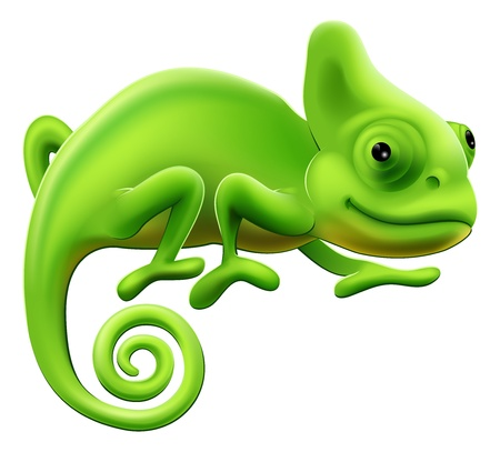 Illustration for An illustration of a cute green cartoon chameleon lizard - Royalty Free Image