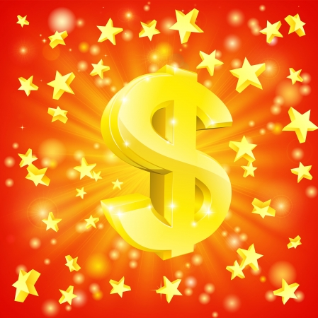 Exciting financial success concept with gold dollar sign flying out of background with stars