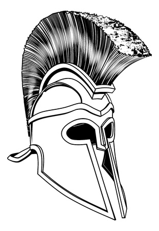 Monochrome illustration of a bronze Corinthian or Spartan helmet like those used in ancient Greece or Rome