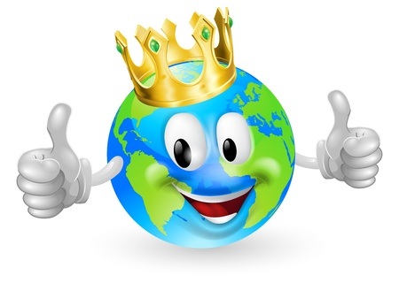 Illustration of a cute happy king of the world mascot man smiling and giving a thumbs up