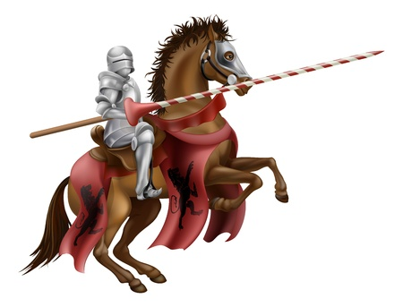 Illustration pour Illustration of a knight mounted on a horse holding a lance ready to joust - image libre de droit