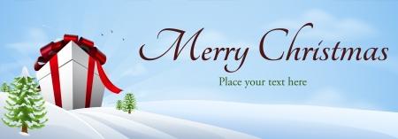 Illustration pour Illustration of a giant Christmas gift in winter landscape, banner background - image libre de droit