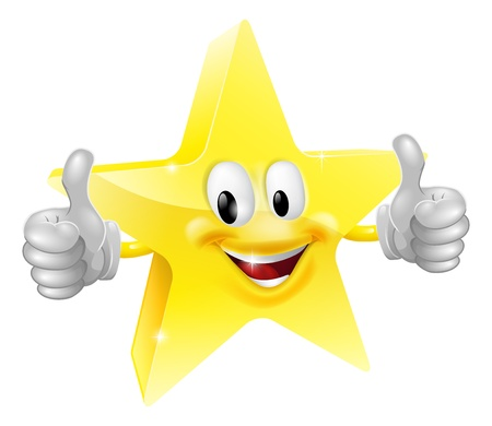 A happy cartoon star man giving a double thumbs up