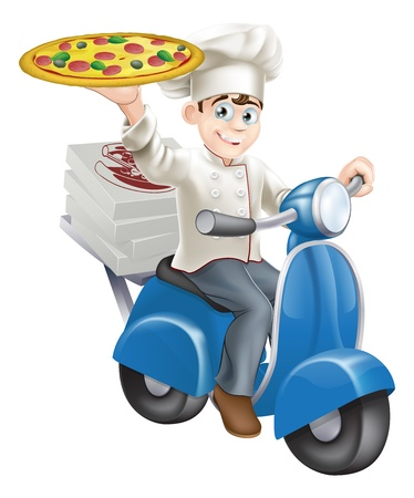 Illustration pour A smartly dressed pizza chef in his chef whites delivering pizza on his moped. - image libre de droit