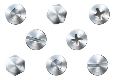 Illustration pour A set of metal shiny screws and bolts for use in your designs - image libre de droit