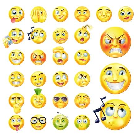 Ilustración de A set of very original emoticon or emoji icons representing lots of reactions, personalities and emotions - Imagen libre de derechos