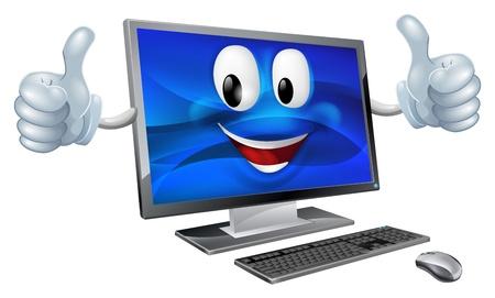 Ilustración de A cute happy cartoon computer mascot character smiling and doing a thumbs up - Imagen libre de derechos