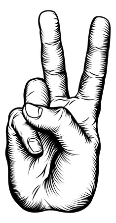 Illustration of a victory V salute or peace hand sign in a retro woodblock styleのイラスト素材