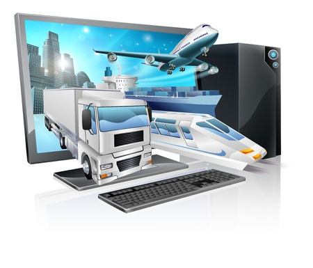 Photo pour A desktop computer with truck, train, plane, and ship coming out of screen. Logistics transport or delivery concept. - image libre de droit