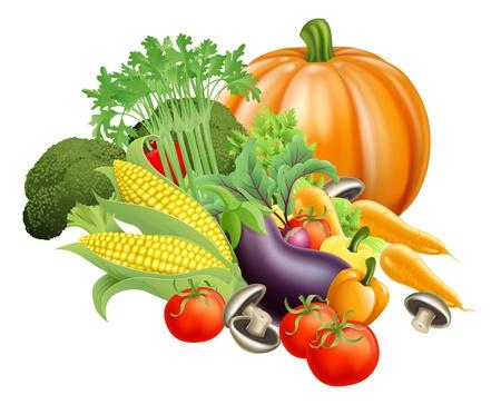 Illustration of produce assortment of healthy fresh vegetables