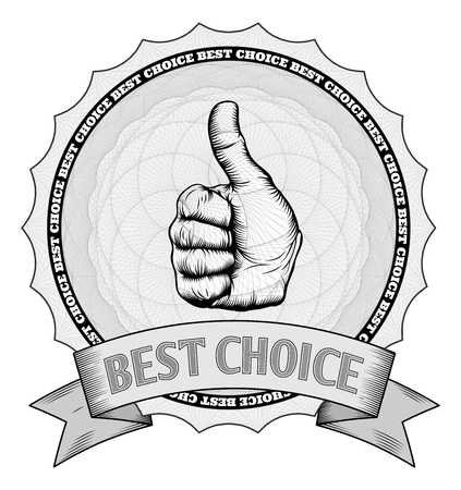 Detailed thumbs up best choice award winner badge with Guilloche patterns. In vector file image is arranged in handy layers.