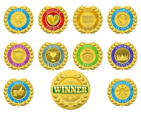 Golden winners medals like those used for product or consumer reviews or tests or for product descriptions
