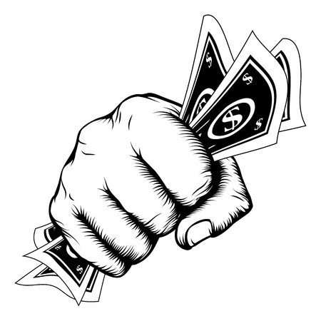 Hand in a fist with cash dollar bills illustration in woodcut retro style.