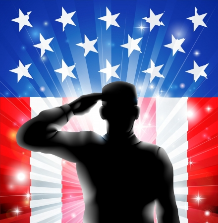 Foto per An American US military soldier from the armed forces in silhouette in uniform saluting in front of an American flag background of red white and blue stars and stripes  - Immagine Royalty Free