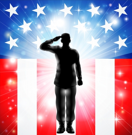 Foto per A US military armed forces soldier in silhouette saluting in front of an American flag background - Immagine Royalty Free