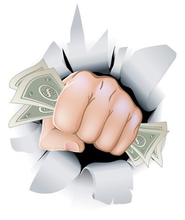 Vektor für A fist full of paper money money, dollars, smashing through the background, or wall.  - Lizenzfreies Bild