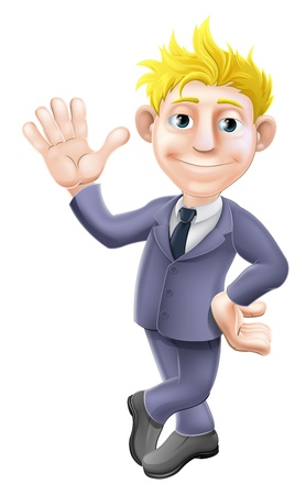 Ilustración de A cartoon blonde business man mascot in a suit waving - Imagen libre de derechos