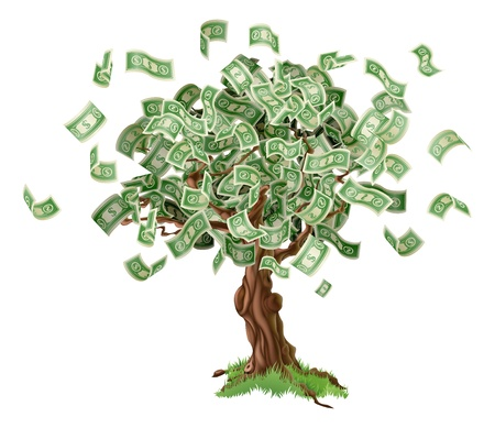 Business or savings concept of a money tree with growing dollar bills or other money.