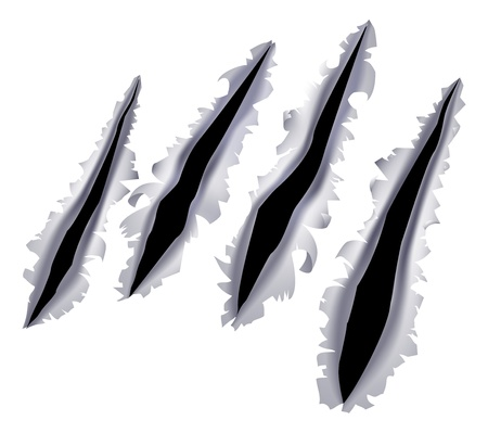 Illustration for An illustration of a monster claw or hand scratch or rip through a metal background - Royalty Free Image