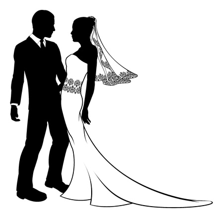 Foto de Bride and groom embracing at their wedding,  having first dance or about to kiss, with beautiful bridal dress with veil and lace pattern   - Imagen libre de derechos