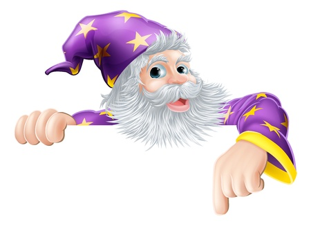 Illustration pour An illustration of a wizard cartoon character peeping over sign and pointing - image libre de droit